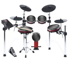 The Alesis Crimson kit is a gorgeous, midrange electronic drum set. The deep red (aka crimson) color is great to look at, but is this a set you want to use in public? Electric Drum Set, Acoustic Drum, Plastic Drums, Toms, Electronic Kits, Drum Music, Oil Drum, Drum Lessons, Dj Equipment