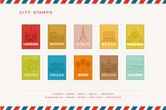 City Stamp Illustrations by Lemonly on Creative Market