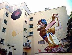 Share your graffiti and Street Art here. Murals Street Art, 3d Street Art, Urban Street Art, Best Street Art, Amazing Street Art, Art Mural, Street Art Graffiti, Street Artists, Graffiti Artists
