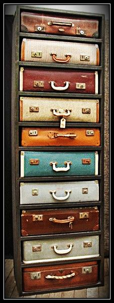 Suitcases chest of drawers