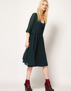 BA V Back Smock Dress with Pocket Detail