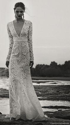 christos costarellos fall 2017 bridal long sleeves deep v neck full embellishment lace embroidered beautiful elegant romantic sheath wedding dress sweep train (25) mv