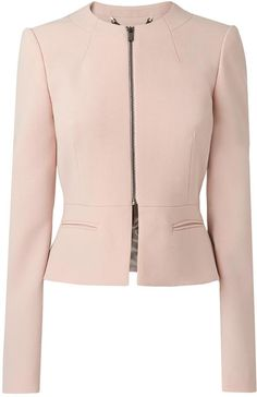 LK Bennett Una Tailored Peplum Jacket More Collarless Jacket, Peplum Jacket, Pink Jacket, Peplum Blazer, Work Fashion, Hijab Fashion, Fashion Outfits, Womens Fashion, Modelos Plus Size