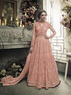 Looking to buy Indian lehenga choli online? Shop latest designer lengha choli online for women. Anarkali Gown, Net Lehenga, Lehenga Style, Lehenga Choli Online, Indian Lehenga, Eid Dresses, Indian Dresses, Fashion Dresses, Long Dresses