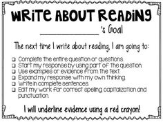 Freebie for helping students to set goals for reading responses.