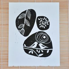 Early Birds linocut print in black.    This linocut features birds and a complimentary nature theme. It looks like images someone might paint on