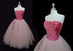 Vintage 1950's Pink Satin and Tulle Floral Appliques Strapless Cocktail Party Prom Dress S