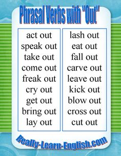 English Phrasal Verbs with OUT. More on common phrasal verbs: http://www.really-learn-english.com/common-phrasal-verbs.html