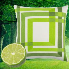 Loving green for COLOR FORMS (green) pillow, embroidered and woven on 100% cotton.