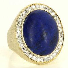 Vintage 14 Karat Yellow Gold Diamond Lapis Lazuli Mens Dress Cocktail Ring $1495