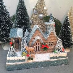 Putz House Glitter House Cabin in Small with an outdoor privy Christmas Village Houses, Putz Houses, Christmas Villages, Christmas Home, Vintage Christmas, Christmas Glitter, Mini Houses, Gingerbread Houses, Christmas Trees