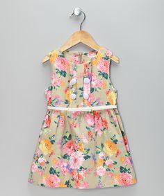 Beige & Pink Flower Belted Dress - Toddler & Girls | Daily deals for moms, babies and kids