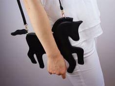 Unicorn Purse Vegan Leather PU Black Bag Clutch by EastWorkshop