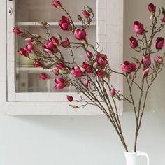 Faux Cerise Magnolia Bud Branch - Faux Flowers - Home Decoration - Home Accessories