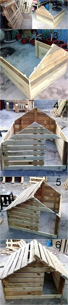 Are you desiring to get step by step tutorial for the creation of wonderful wooden pallet dog house, if yes then have a look on the images given below.This picture will show out that how you can transform the useless wooden pallet slats for the manufacturing of a stunning dog house. Make the best use of these images and renovate your place with this exceptional pallet dog house.