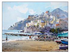 Watercolor Artists, Watercolor Landscape, Landscape Paintings, Watercolor Paintings, Watercolours, Landscape Art, Landscapes, Collor, Gouache Painting