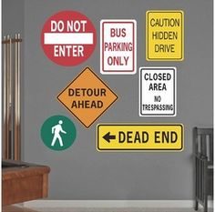 Road Signs | Printed Wall Decals- could use to resurface a table. Perfect for a city theme