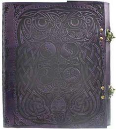 Owl leather blank book w/ latch