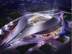 a sports stadium in china. looks like a massive luminescent vulva, and very nice it is too. and I told you this was coming! Futuristic City, Futuristic Architecture, Amazing Architecture, Architecture Design, Soccer Stadium, Football Stadiums, World Cup Stadiums, Stadium Architecture, China Southern Airlines