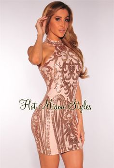 Rose Gold Victorian Sequins Nude Illusion Dress