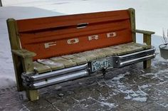 Hand made patio bench featuring a real 1970s vintage Ford pickup tailgate and bumper. Great for your back porch, camp site, cabin or patio. Made with