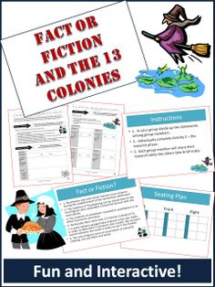 """This is a fun activity that has students investigate different historical statements about the 13 colonies and determine their accuracy.   For example, one of the events students investigate is """"witch dunking"""" during the Salem witch hysteria of the late 1600s.   Included in the download:  1. Detailed student worksheet 2. Powerpoint version of the instructions for the teacher to explain to the class."""