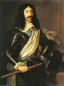 Louis XIII (27 September 1601 – 14 May 1643) was a Bourbon monarch who ruled as King of France and of Navarre from 1610 to 1643.    Louis was only eight years old when he succeeded his father. His mother, Marie de Medici, acted as regent during Louis' minority. Mismanagement of the kingdom and ceaseless political intrigues by Marie de Medici and her Italian favourites led the young king to take power, in 1617, by exiling his mother and executing her followers