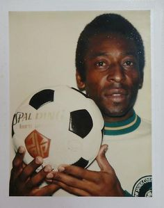 "Pele + Polaroid + Warhol, From ""Andy Warhol Polaroids of Sports Champions"" at Danzinger Projects through Dec. See also: John McEnroe and (non-athlete) Tatum O'Neal.it Andy Warhol Pop Art, Pittsburgh, Polaroid Photos, Polaroids, Paint Photography, Sports Stars, Artist Names, American Artists, Soccer Ball"