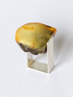 Amber Ring Silver 925 HONEY-GOLD baltic amberstone Unique