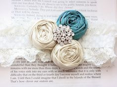 lace garter with teal rose