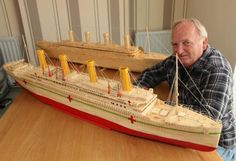 Dave Reynolds with his matchstick model of HMHS Britannic pictured next to his model of Titanic. Titanic Model, Rms Titanic, Cruise Ship Models, Cruise Ships, Titanic Drawing, Cunard Ships, Titanic Photos, Merchant Navy, Wooden Ship