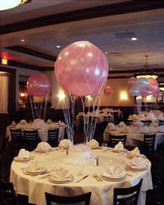 Hot Air Balloon Centerpieces - www.idealpartydecorators.com
