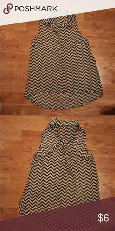 Sheer Cream and Black High/Low Chevron Tank Sheer Cream and Black High/Low Chevron Tank. Excellent Condition Tops Tank Tops