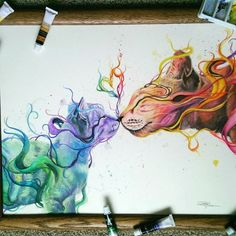Here are striking watercolor drawings by Dany Lizeth who is 17 years old Mexican artist. Dany Lizeth is very young, creative and talented artist who creates colorful drawings of animals. Art And Illustration, Illustration Animals, Landscape Illustration, Watercolor Illustration, Amazing Drawings, Cool Drawings, Pencil Drawings, Colorful Drawings, Beautiful Drawings