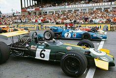 1969 German GP, Nurburgring : Start (front row) 1-Jacky Ickx,  Brabham BT26A #6, Motor Racing Developments (Winner) 2-Jackie Stewart, Matra-Ford MS80 #7, Matra International (2nd) 3-Jochen Rindt, Lotus-Ford 49B #2, Gold Leaf Team Lotus (ret). (ph: motor--sport.com)