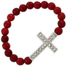 Coral Stone Beaded Cross Elastic Bracelet Reference: LC052297 Condition: New product