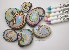 """Repeat Crafter Me: Pastel Paisley Painted Rocks (""""finish early"""" project to emphasize pattern?)"""