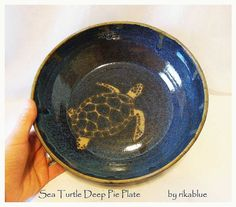 handmade pottery pie plates | Sea Turtle Pottery Pie Plate by rikablue on Etsy, ... | Handmade Favs