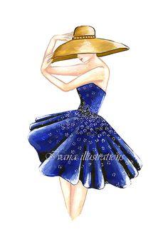 fashion illustration print fashion drawing by IvanaIllustrations