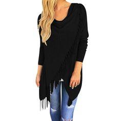 Women Tassel Slash Blouse 2016 Fashion Long Sleeve Tops lady #LN