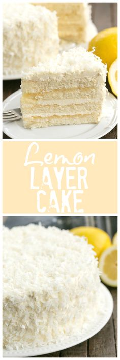 Lemon Layer Cake with Lemon Curd Filling and frosted with Lemon Swiss Meringue B. Lemon Layer Cake with Lemon Curd Filling and frosted with Lemon Swiss Meringue Buttercream! That Skinny Chick Can Bake! Mini Desserts, Lemon Desserts, Lemon Recipes, Just Desserts, Sweet Recipes, Delicious Desserts, Coconut Recipes, Yummy Food, Cupcake Recipes