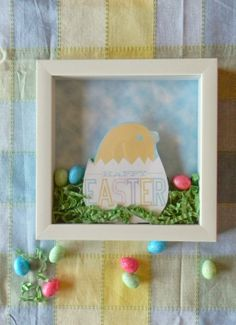 Living La Vida Holoka:Happy Easter Shadowbox #DIY with a Treat card. Perfect for a little Easter Decor