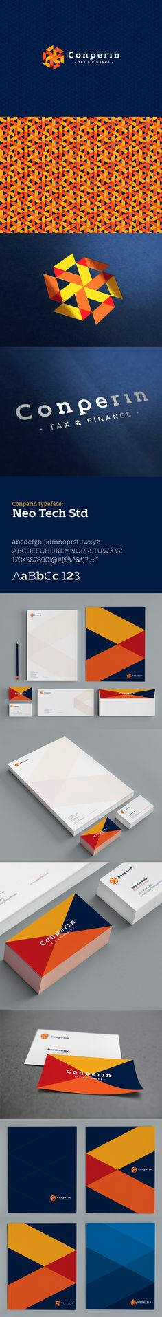 Branding - logo, stationery and collateral suite. Orange and blue colors. Nice.