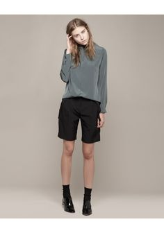 Cacharel / Top with Asymmetric Collar - Worn with / Alexander Wang Illusion Pocket Shorts & Repetto Robin Oxford.