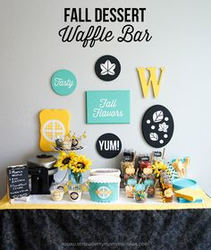 M&M's Fall Dessert Waffle Bar using my Silhouette to create the party decorations! from Strawberry Mommycakes Food Trucks, Waffle Bar, Waffle Iron, Sweet Corner, Autumn Activities For Kids, Dessert For Dinner, Fall Desserts, Party Gifts, Party Planning