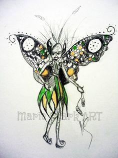 Seamus the Celtic garden fairy by MarieStarkART on Etsy