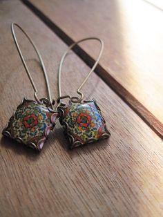 Mexican jewelry, Mexican Talavera tile drop earrings, Southwestern style, Boho rustic rose, world, Talavera Mediterranean.