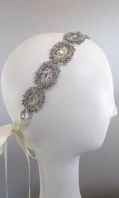 105 Crystal Victorian wedding headband, Art Deco Rhinestone Bridal Headband, Vintage Inspired Hair Accessory