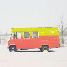 color palett, van, winter, bus, color combos, snow, art, matthia heiderich, photographi