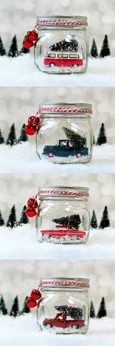Mason Jar Snow Globes: Vintage Cars & Trucks in Mason Jars